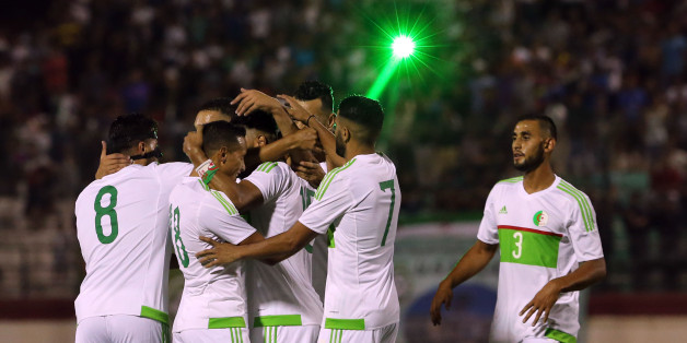 Algerian players celebrate after scoring a goal against Lesotho at the 2017 African Cup of Nations soccer qualifying match between Algeria and Lesotho stage Tchaker Mustapha Blida, Algeria 09/04/2016. (Photo by Billal Bensalem/NurPhoto via Getty Images)
