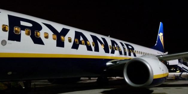 Santander, Spain - January 2, 2011: Ryanair airplane just arriver to Santander airport.