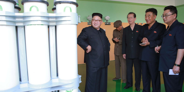 North Korean leader Kim Jong Un gives field guidance to the newly-built Medical Oxygen Factory in this undated photo released by North Korea's Korean Central News Agency (KCNA) in Pyongyang September 15, 2016.   KCNA/via Reuters   ATTENTION EDITORS - THIS IMAGE WAS PROVIDED BY A THIRD PARTY. EDITORIAL USE ONLY. REUTERS IS UNABLE TO INDEPENDENTLY VERIFY THIS IMAGE. NO THIRD PARTY SALES. SOUTH KOREA OUT.