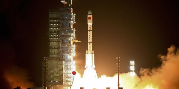 """Das chinesische Raumlabor """"Tiangong-1"""" bei seinem Start im Jahr 2011."""