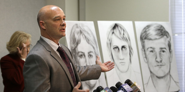 Sgt. Paul Belli, of the Sacramento County Sheriff's Department homicide bureau, gestures toward law enforcement drawings of a suspected serial killer believed to have committed at least 12 murders across California in the 1970's and 1980's at a news conference Wednesday, June 15, 2016, in Sacramento, Calif. Authorities announced a $50,000 reward for the arrest and conviction of the person that along with murder, is suspected of committing at least 45 rapes and dozens of burglaries. (AP Photo/Ric