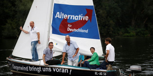 Frauke Petry (2nd fron R), chairwoman of the anti-immigration party Alternative for Germany (AfD) attends a boat trip on the Havel river in Berlin, Germany, September 16, 2016.    REUTERS/Axel Schmidt