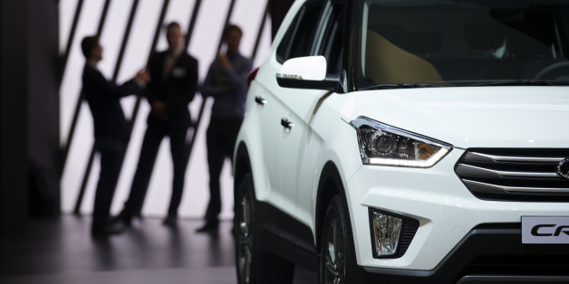 The Hyundai Creta car is on display during the opening day of Moscow International Automobile Salon in Moscow, Russia, on Wednesday, Aug. 24, 2016. (AP Photo/Ivan Sekretarev)