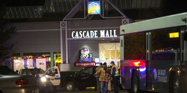 BURLINGTON, WA - SEPTEMBER 23: Police attend the Cascade Mall after three women were reportedly shot dead and a man critically injured following a shooting at the shopping center on September 23, 2016 in Burlington, Washington. The suspect is believed to still be at large. (Photo by Karen Ducey/Getty Images)