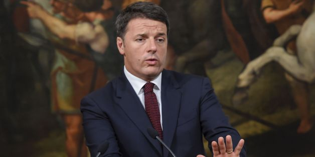 Italian Prime Minister Matteo Renzi gestures during a press conference for reconstruction efforts for areas and victims affected by the August 24 earthquake on September 23, 2016 at the Palazzo Chigi in Rome.  / AFP / ANDREAS SOLARO        (Photo credit should read ANDREAS SOLARO/AFP/Getty Images)