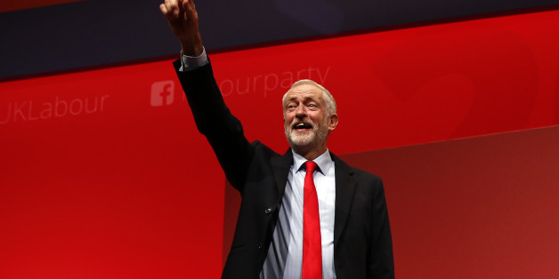 The leader of Britain's opposition Labour Party, Jeremy Corbyn, reacts after the announcement of his victory in the party's leadership election, in Liverpool, Britain September 24, 2016.  REUTERS/Peter Nicholls