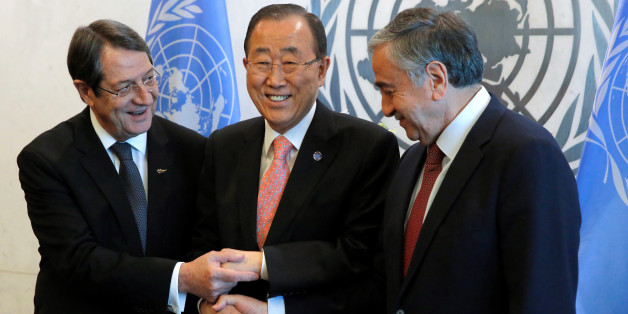 Cyprus President Nicos Anastasiades and Turkish Cypriot leader Mustafa Akinci attend a meeting with United Nations Secretary-General Ban Ki-moon at the United Nations in Manhattan, New York, U.S., September 25, 2016. REUTERS/Andrew Kelly