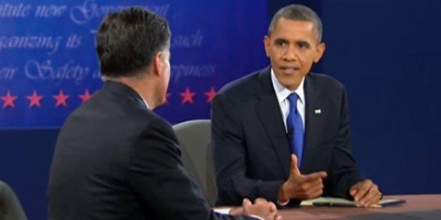 Barack Obama face à Mitt Romney en 2012.