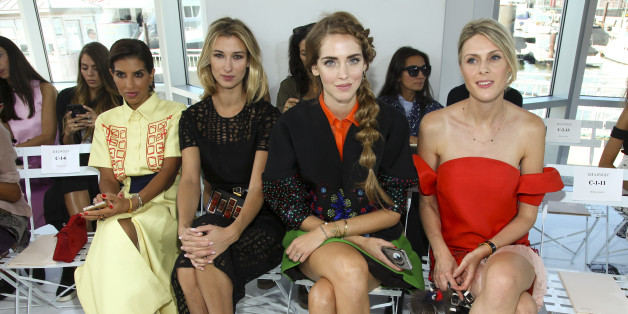 Deena Abdulaziz, from left, Lauren Remington Platt, Chiara Ferragni and Sofie Valkiers attend the New York Fashion Week Spring/Summer 2016 Delpozo fashion show on Wednesday, Sept. 16, 2015, in New York. (Photo by Andy Kropa/Invision/AP)