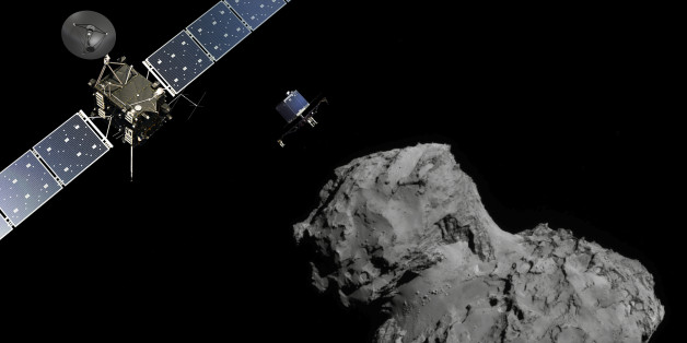 DARMSTADT, GERMANY - NOVEMBER 12:  (EDITORIAL USE ONLY) In this November 10, 2014 handout photo illustration provided by the European Space Agency (ESA) the Rosetta probe (L) and Philae lander are pictured above the 67P/Churyumov-Gerasimenko comet. ESA will attempt to land the Philae lander onto the comet in the afternoon (GMT) of November 12 which, if successful, will be the first time ever that a man-made craft has landed onto a comet. The Philae lander is a mini laboratory that will harpoon itself to the surface, though a problem with a gas thruster detected November 11 is making the outcome of the landing uncertain. (Photo by ESA via Getty Images)