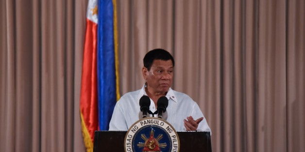 MANILA, PHILIPPINES - SEPTEMBER 26: Philippine President Rodrigo Duterte speaks during a presidential awarding ceremony held at the Malacanang Palace in Manila, Philippines on 26 September 2016. (Photo by George Calvelo/Anadolu Agency/Getty Images)