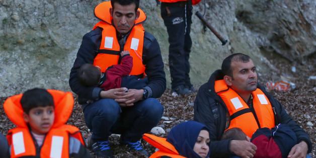 Flüchtlinge bei ihrer Ankunft in Lesbos