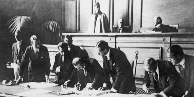 SWITZERLAND - JULY 24:  Signing of the Treaty of Lausanne on July 24, 1923. The treaty is ratified by representatives of each country present in the conflict. Great-Britain, France, Italy, Romania, the Kingdom of Serbia, Croatia and Slovenia, Greece and Turkey, which represented by her Minister of Foreign Affairs, General Ismet INONU.  (Photo by Keystone-France/Gamma-Keystone via Getty Images)