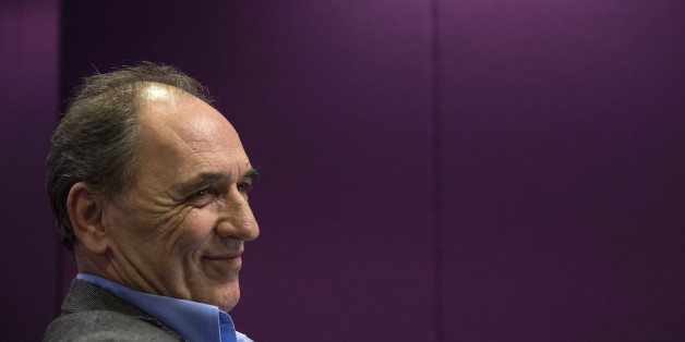 George Stathakis, Greece's economy minister, reacts during an interview in Athens, Greece, on Monday, Feb. 15, 2016. Greece, struggling with more than 100 billion euros ($112 billion) of soured loans, wants to cap distressed debt sales, the countrys economy minister said. Photographer: Yorgos Karahalis/Bloomberg via Getty Images