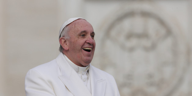 The pontifex Francis (Jorge Mario Bergoglio) smiling during the audience with the Padre Pio prayer groups on Saint Peter Square at the arrival of the relics belonging to Saint Pio and Saint Leopold Mandic in Vatican City. Vatican City, 6th February 2016 (Photo by Grzegorz Galazka\Archivio Grzegorz Galazka\Mondadori Portfolio via Getty Images)