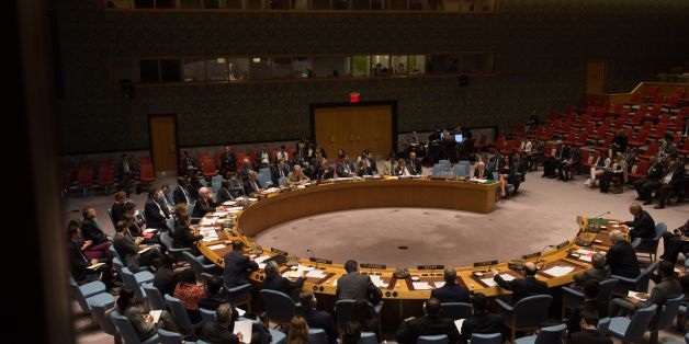 An overall view of a United Nations Security Council emergency meeting on the situation in Syria, at the United Nations September 25, 2016 in New York. The UN Security Council met for urgent talks on Sunday as Syrian and Russian warplanes  pounded rebel-held east Aleppo in the worst surge of bombing to hit the devastated city in years. Britain, France and the United States called the emergency meeting to turn up pressure on Russia and press demands that it rein in its ally Syria to halt the inte