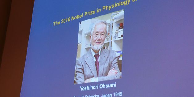 A photo of Yoshinori Ohsumi of Japan can be seen on the speaker's desk at the Nobel Forum in Stockholm, after the announcement he won the Nobel Prize in Medicine on October 3, 2016.