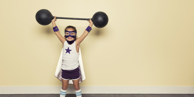 Even young superheroes need to train to be stronger.