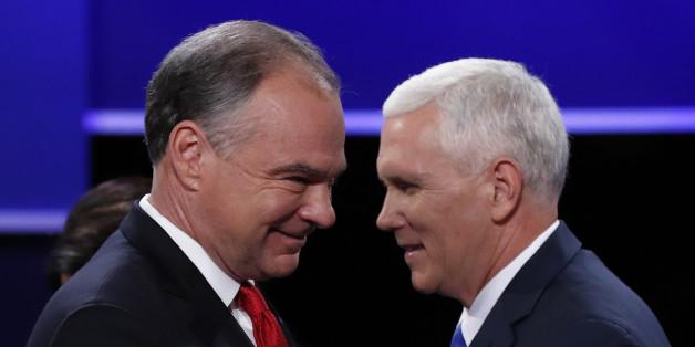 Die Kandidaten als US-Vizepräsidenten Tim Kaine und Mike Pence