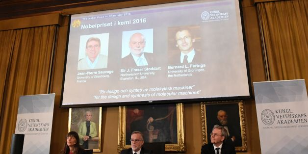 The winners of the 2016 Nobel Chemistry Prize (L-R) Jean-Pierre Sauvage, J Fraser Stoddart and Bernard L Feringa are announced by the Nobel Committee for Chemistry (L-R) Sara Snogerup Linse (Chairman)