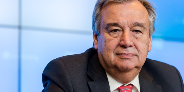 UN High Commissioner for Refugees Antonio Guterres addresses the media during an informal meeting of EU Justice and Home Affairs ministers in Luxembourg on Thursday, July 9, 2015. EU ministers meet today and Friday to discuss the immigration policy. (AP Photo/Geert Vanden Wijngaert)