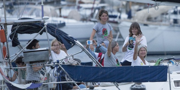 BARCELONA, SPAIN - SEPTEMBER 14: Activists of Two sailing boats, Amal-Hope and Zaytouna-Oliva, with only female activists on board, make preparations before set off for the Gaza Strip from the port of Barcelona under the banner 'The Women's Boat to Gaza' to break the Israeli blockade on Gaza on September 14, 2016 in Barcelona, Spain. (Photo by Albert Llop/Anadolu Agency/Getty Images)