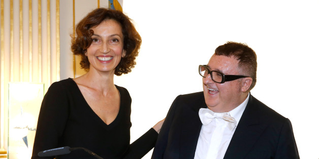 PARIS, FRANCE - OCTOBER 03:  (L-R) French Minister of Culture and Communication, Audrey Azoulay and Alber Elbaz attend Alber Elbaz receives the Insigna of 'Officier de la Legion d'Honneur' at Ministere de la culture as part of the Paris Fashion Week Womenswear  Spring/Summer 2017  on October 3, 2016 in Paris, France  (Photo by Bertrand Rindoff Petroff/Getty Images)