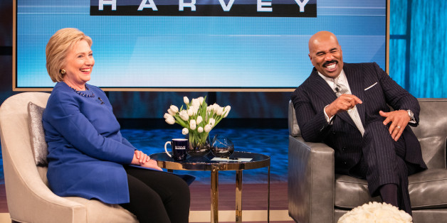 STEVE HARVEY -- Pictured: (l-r) Secretary of State Hillary Clinton, Steve Harvey -- (Photo by: Jeff Schear/NBC/NBCU Photo Bank via Getty Images)
