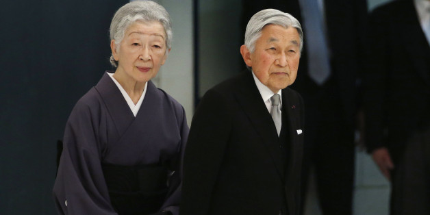 Japan's Emperor Akihito accompanied by Empress Michiko leaves during a memorial service at Nippon Budokan martial arts hall in Tokyo, Monday, Aug. 15, 2016. Japan marked Monday the 71st anniversary of the end of World War II. (AP Photo/Shuji Kajiyama)