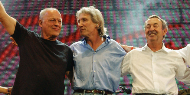 LONDON - JULY 2:  (EMBARGOED FOR PUBLICATION IN UK TABLOID NEWSPAPERS UNTIL 48 HOURS AFTER CREATE DATE AND TIME) (L to R) Musicians David Gilmour, Roger Waters, Nick Mason and Richard Wright of Pink Floyd stand on stage at 'Live 8 London' in Hyde Park on July 2, 2005 in London, England.  The free concert is one of ten simultaneous international gigs including Philadelphia, Berlin, Rome, Paris, Barrie, Tokyo, Cornwall, Moscow and Johannesburg. The concerts precede the G8 summit (July 6-8) to rais
