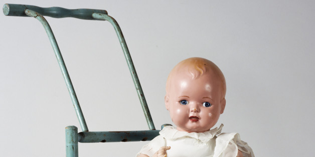 Blondkopfehen, celluloid doll on a stroller, made by Rheinische Gummi und Celluloid Fabrik. Germany, 20th century.