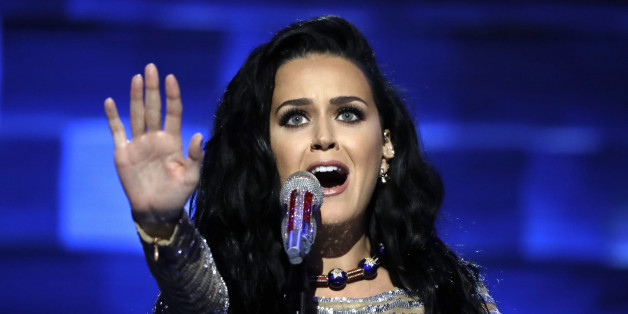 Singer Katy Perry performs during the final day of the Democratic National Convention in Philadelphia, Thursday, July 28, 2016. (AP Photo/Matt Rourke)