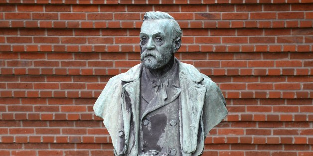 A statue featuring Swedish inventor of dynamite Alfred Nobel is seen outside the Karolinska Institutet in Stockholm, where the Nobel Committee is to announce the winner of the 2014 Nobel in Physiology or Medicine on October 6, 2014.