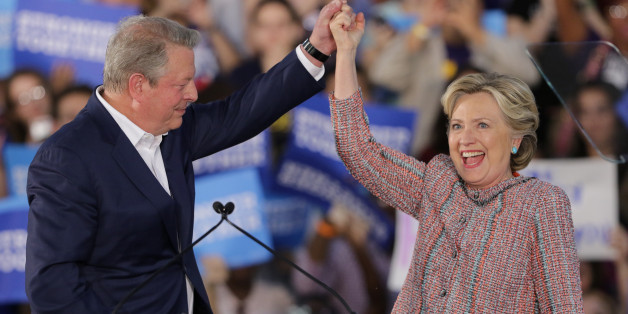 MIAMI, FL - OCTOBER 11:  Democratic presidential nominee former Secretary of State Hillary Clinton and Vice President Al Gore are seen as they campaign together at the Miami Dade College - Kendall Campus, Theodore Gibson Center on October 11, 2016 in Miami, Florida. (Photo by Alexander Tamargo/WireImage)
