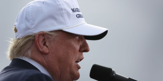 LAKELAND, FL - OCTOBER 12:  Republican presidential candidate Donald Trump speaks during a campaign rally at the Lakeland Linder Regional Airport on October 12, 2016 in Lakeland, Florida. Trump continues to campaign against Democratic presidential candidate Hillary Clinton with less than one month to Election Day.  (Photo by Joe Raedle/Getty Images)