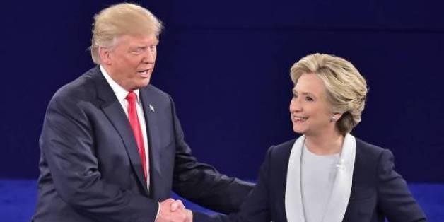 Donald Trump und Hillary Clinton während des TV-Duells