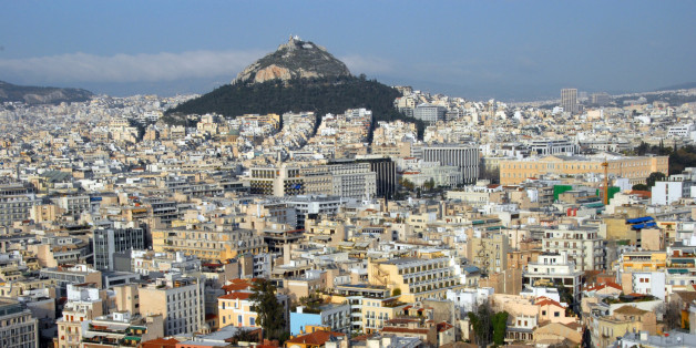 High angle view of city, Athens, Greece