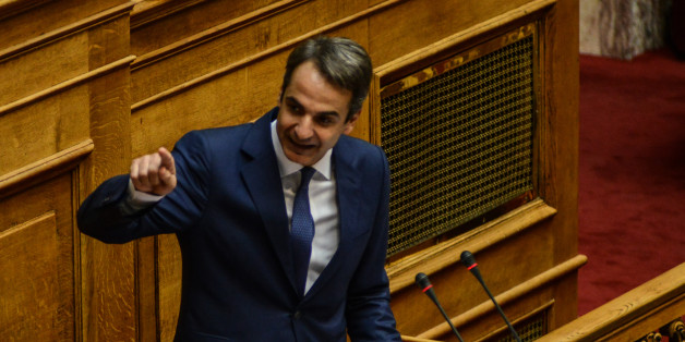 Leader of the Opposition, Kyriakos Mitsotakis, Nea Dimokratia during parliamentary dispute at level of Party leaders on the topic of corruption in Athens on October 10, 2016. (Photo by Wassilios Aswestopoulos/NurPhoto via Getty Images)