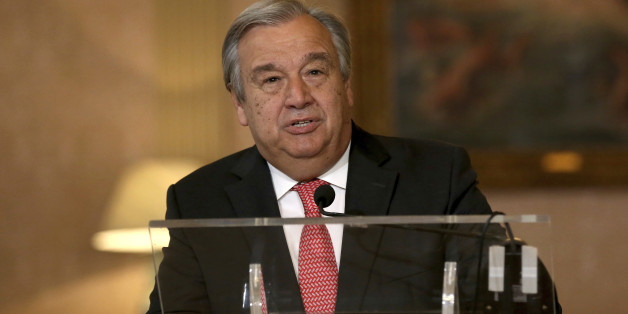 "The newly appointed Secretary General of the United Nations, Antonio Guterres, reads a statement at Lisbon's Necessidades palace after the formal election took place this morning at the organisation's headquarters, Thursday, Oct. 6, 2016. The probable next U.N. secretary-general says he faces ""huge challenges"" and hopes to see unity and consensus during his expected term at the international body. (AP Photo/Steven Governo)"