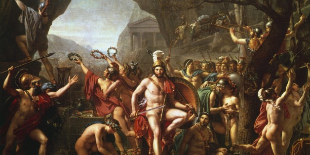 UNSPECIFIED - CIRCA 1754: Leonidas at Thermopylae' (1814). Leonidas (dc480 BC) king of Sparta from 491 BC. Held pass at Thermopylae for 3 days with 300 Spartans and 700 Thespians against the Persian army. Leonidas and his followers all died. Jacques Louis David (1748-1825) French painter. (Photo by Universal History Archive/Getty Images)