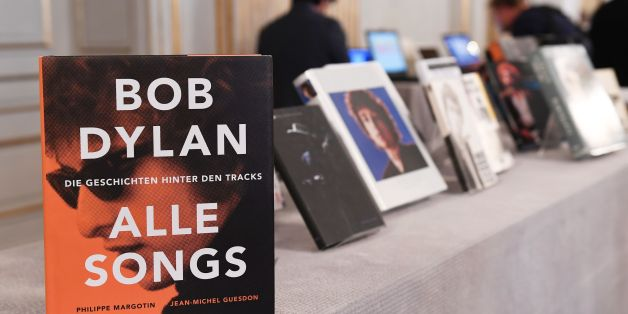 Books by US songwriter Bob Dylan who was announced the laureate of the 2016 Nobel Prize in Literature are displayed at the Swedish Academy in Stockholm, Sweden, on October 13, 2016.US songwriter Bob Dylan wins the 2016 Nobel Literature Prize. / AFP / JONATHAN NACKSTRAND        (Photo credit should read JONATHAN NACKSTRAND/AFP/Getty Images)