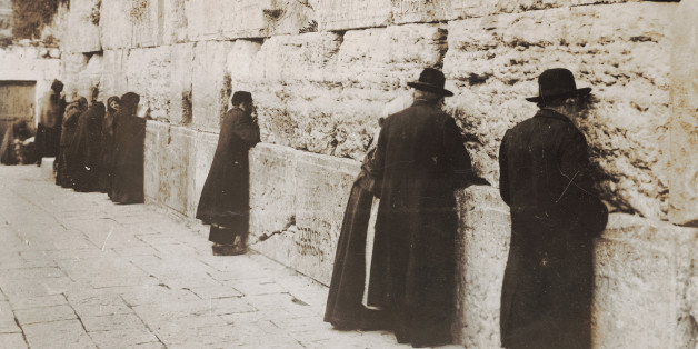 ISRAEL - JANUARY 01:  Jews at the Wailing Wall in Jerusalem. Photography 1929.  (Photo by Imagno/Getty Images)