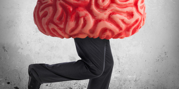 Metaphor of the brain drain. Rubber brain legs while running.