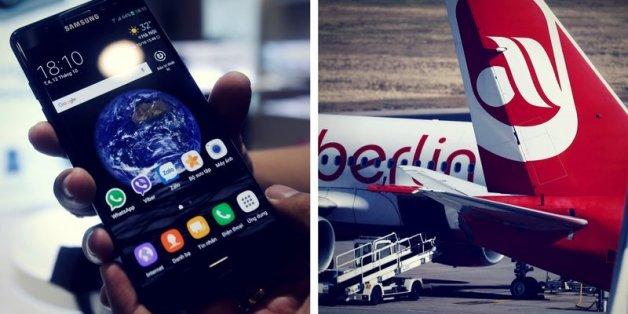 Brandgefahr: Air Berlin verbietet Samsung Note 7 in Flugzeugen