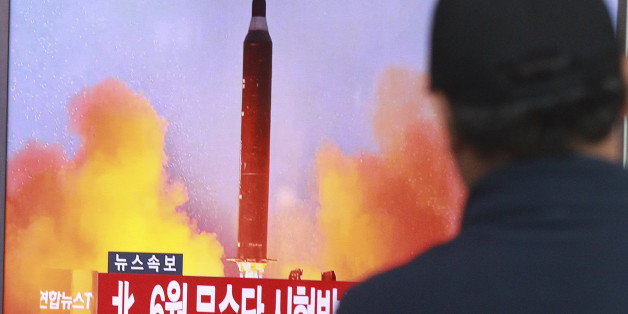"""A man watches a TV news program showing a file image of a missile launch conducted by North Korea, at the Seoul Railway Station in Seoul, South Korea, Sunday, Oct. 16, 2016. South Korea and the U.S. said Sunday that the latest missile launch by North Korea ended in a failure after the projectile exploded soon after liftoff. The letters read """"North attempted to fire a mid-range Musudan missile on June. (AP Photo/Ahn Young-joon)"""