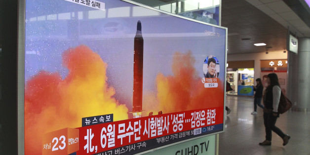 """A TV screen shows a file image of a missile launch conducted by North Korea in a local news program, at Seoul Railway Station in Seoul, South Korea, Sunday, Oct. 16, 2016. South Korea and the U.S. said Sunday that the latest missile launch by North Korea ended in a failure after the projectile exploded soon after liftoff. The letters read """"North attempted to fire a mid-range Musudan missile on June. (AP Photo/Ahn Young-joon)"""