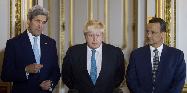 (L-R) US Secretary of State John Kerry, British Foreign Secretary Boris Johnson and UN Special Envoy for Yemen Ismail Ould Cheikh Ahmed make a joint statement on Yemen at Lancaster House in London on October 16, 2016.The United States, Britain and the UN peace envoy to Yemen today urged the warring parties in the country's civil war to declare a ceasefire within days. / AFP / JUSTIN TALLIS        (Photo credit should read JUSTIN TALLIS/AFP/Getty Images)