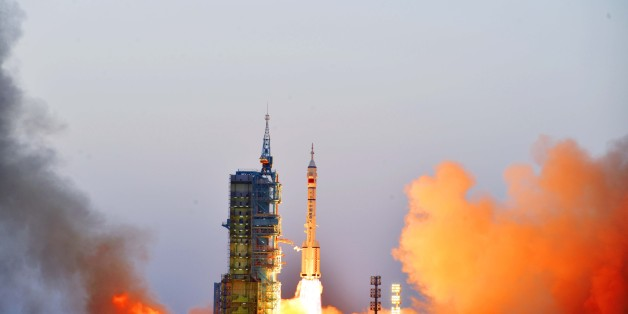 JIUQUAN, CHINA - OCTOBER 17:  The Long March-2F rocket carrying Shenzhou 11 manned spacecraft blasts off from launch pad on October 17, 2016 in Jiuquan, China.  A Long March-2F rocket, loaded with the Shenzhou 11 manned spacecraft, blasted off at 7:30 am from Jiuquan Satellite Launch Centre on Monday. The astronauts on this mission were Jing Haipeng and Chen Dong.  (Photo by Zhu Jiutong/VCG via Getty Images)