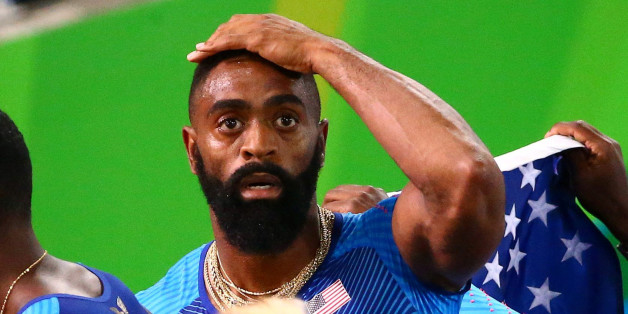 Tyson Gay of USA reacts after his men's 4 X 100m relay was disqualified in the final at the 2016 Rio Olympics in an August 19, 2016 file photo. Trinity Gay, the 15-year-old daughter of U.S. Olympic sprinter Tyson Gay died on Sunday after being caught in an exchange of gunfire between two vehicles outside of a Kentucky restaurant, police said.   REUTERS/David Gray/Files    FOR EDITORIAL USE ONLY. NOT FOR SALE FOR MARKETING OR ADVERTISING CAMPAIGNS.