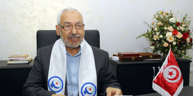 the founder of Tunisia's Islamist Ennahda party Rached Ghannouchi poses on October 25, 2011 in Tunis at the movement headquarters. Ennahda party took the lead in early official results today, with 15 of 39 seats in five polling districts, including the cities of Sousse and Sfax, the ISIE elections body said.  AFP PHOTO / FETHI BELAID (Photo credit should read FETHI BELAID/AFP/Getty Images)